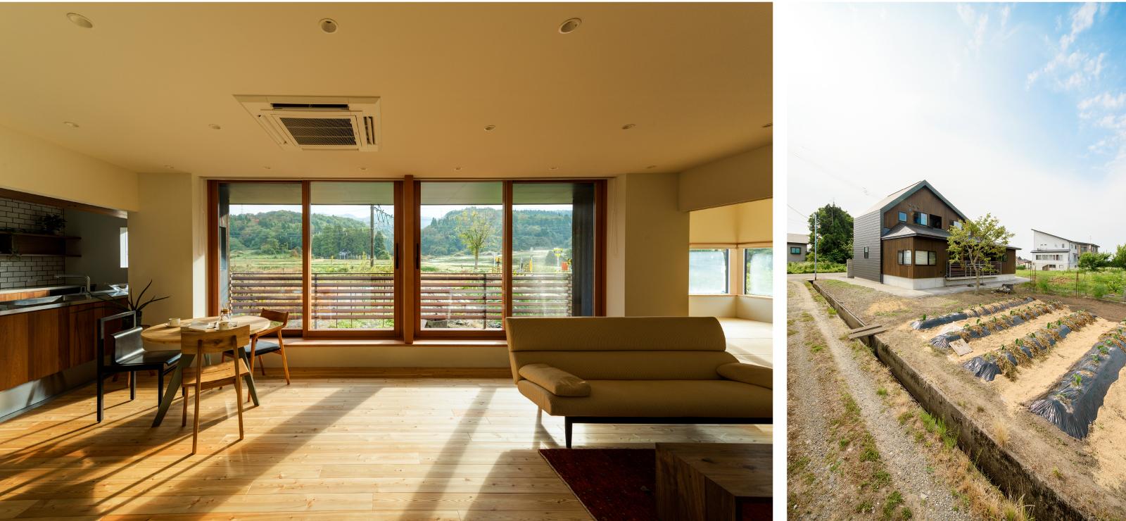 長岡市峰の家、リビングからは山々を一望できる。