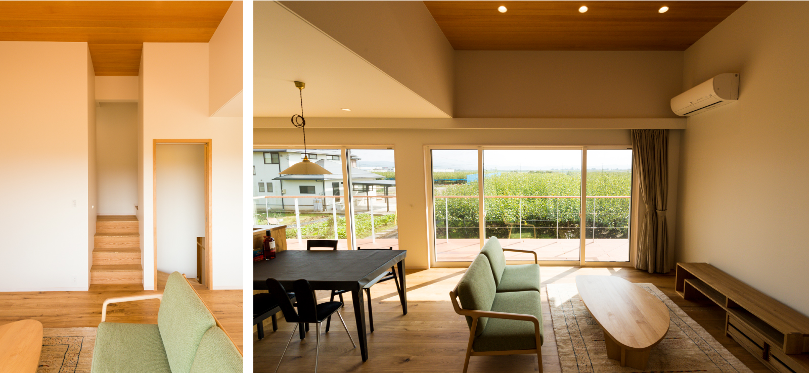 加茂市Nm_houseのリビングからは梨畑を一望できます。