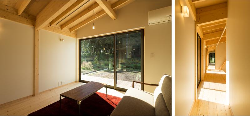 長岡市Sk3_houseのリビングからは雑木林が望めます。