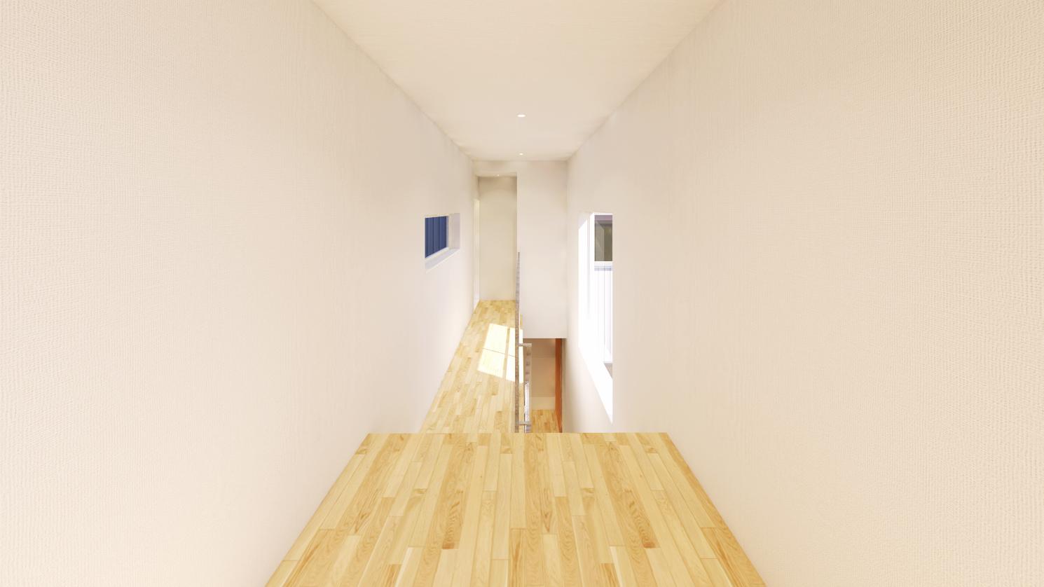 新潟市西区青山オープンハウス、上層の玄関から入り、下層のLDKへと進む廊下。