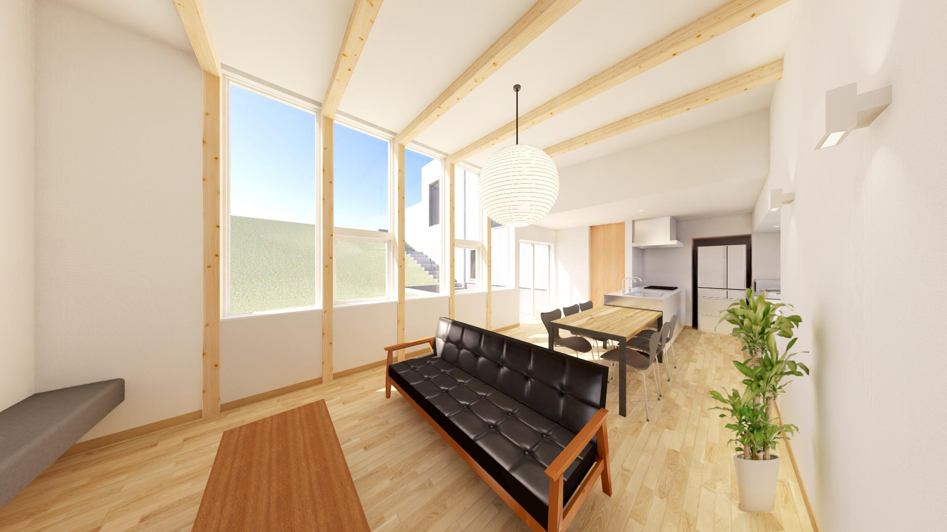 新潟市西区青山オープンハウス、下層のLDKからは上層へとあがる庭の景色を見ることができる。
