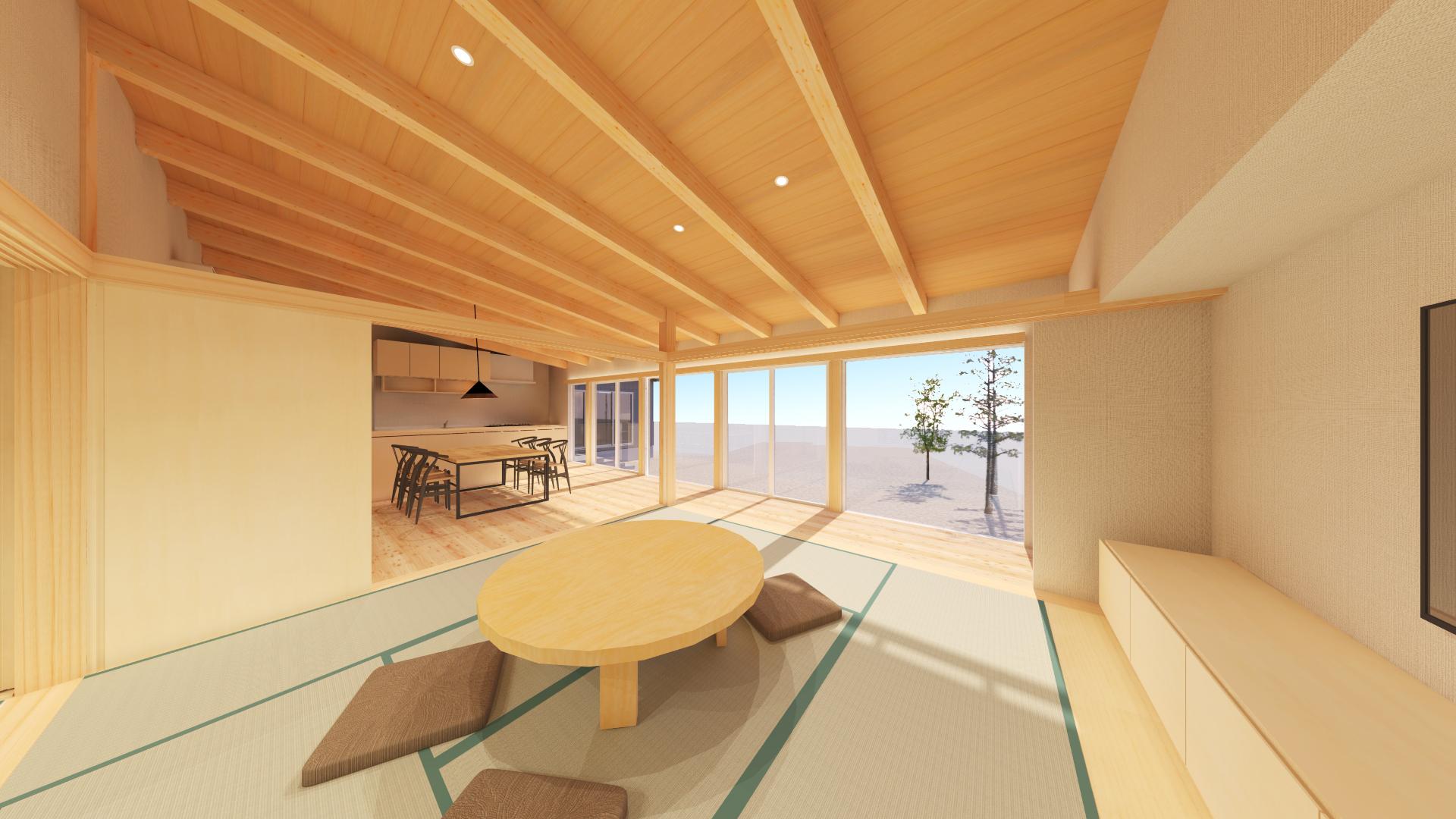 燕市小池オープンハウス、ほぼ平屋の3世帯住居。ダイナミックな構造と木の温かみが現れた居間。