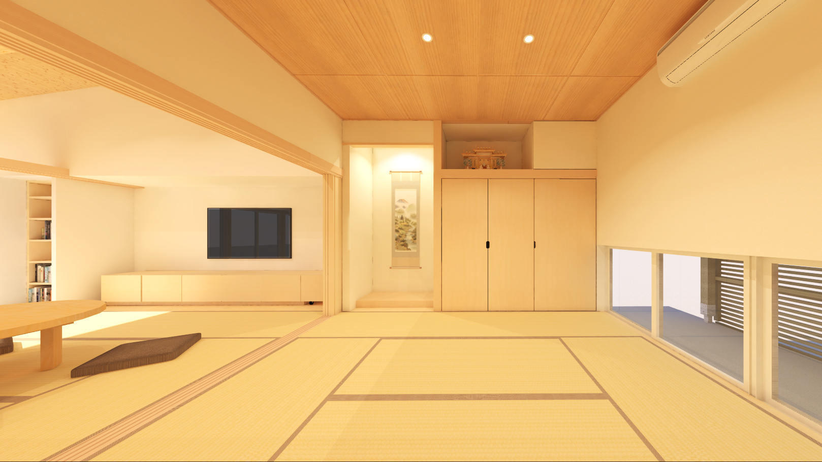 燕市小池オープンハウス、ほぼ平屋の3世帯住居。居間と仏間を八畳二間続きの空間としました。