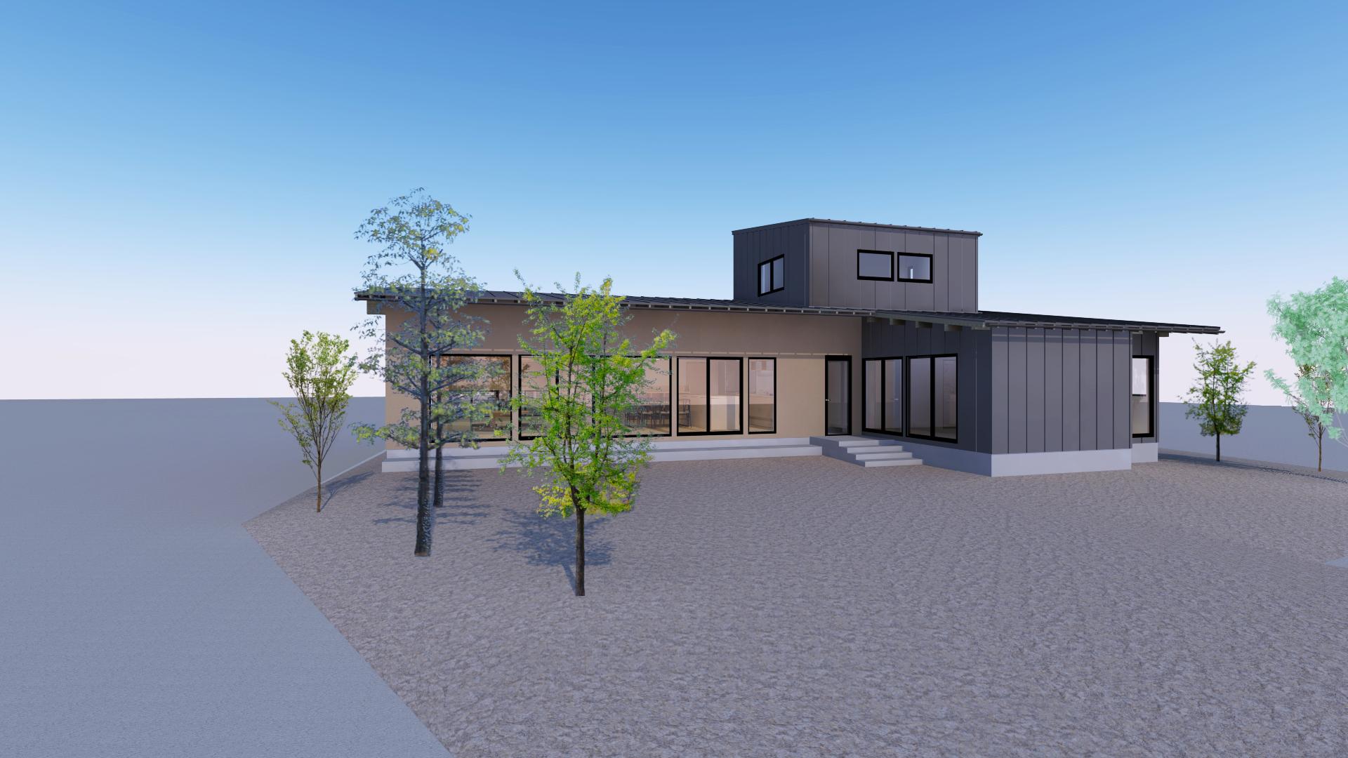 燕市小池オープンハウス、ほぼ平屋の3世帯住居。主庭をL型に囲むように居間と寝室を配置。